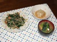 11/11 夕食 肉ニラ炒め、里芋まんじゅう、小松菜と厚揚げの味噌汁