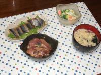 11/13 夕食 イナダの塩麹和え、さんまのスモーク、海老とブロッコリーのサラダ、玉子スープ