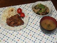 11/14 夕食 豚肉の生姜焼き、小松菜としめじの煮びたし、ジャガイモと水煮の味噌汁
