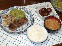 11/16 夕食 牛肉のチーズロール、玉こんにゃくの煮物、玉葱と玉子の味噌汁