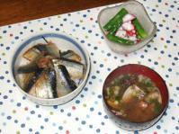 11/17 夕食 さんまの漬丼、タコとアスパラのサラダ、アサリの味噌汁