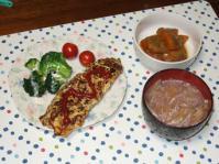 11/23 夕食 オムレツ、かぼちゃの煮物、もやしと油麩の味噌汁