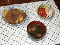 11/26 夕食 肉じゃが、水菜と蒸し鶏のサラダ、ネギとわかめの味噌汁