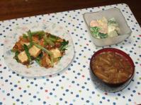 11/27 夕食 小松菜と厚揚げの桜えび炒め、海老とブロッコリーのサラダ、豆腐となめこの味噌汁