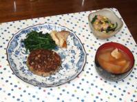 11/29 夕食 豆腐ひじきハンバーグ、海老と春雨のサラダ、豚汁