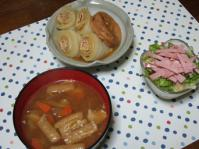 12/19 ロール白菜(油揚げ)煮、豚汁、サニーレタスとハムのサラダ