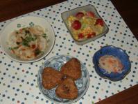 1/8 夕食 水餃子、サラダ、なます、中華おこわおにぎり