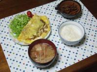 2/4 夕食 きのこオムレツ、きんぴらごぼう、もやしと油麩の味噌汁、ごはん