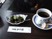 2/22  デザート 抹茶わらび餅とコーヒー   かごの屋