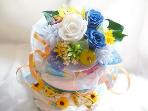 2段のおむつケーキ