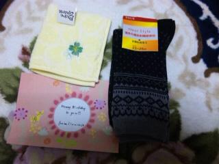 靴下、ハンカチ、カード