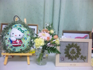 塗りプラ、花、クローバー額