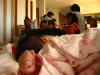 母の誕生会ひなちゃんの手