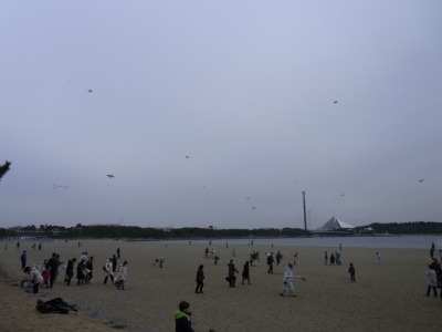 みんな凧あげしています