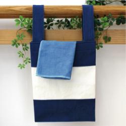 藍染めエコバック(小)とハンカチタオルセット