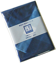 藍染め雑貨:ハンカチ 板締め染め(囲み)簡易