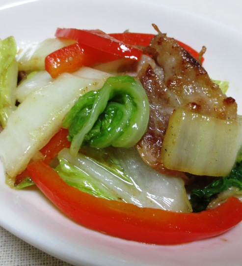 白菜とパプリカの生姜炒め B