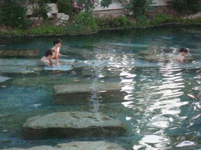 外国人親子、泳いでた