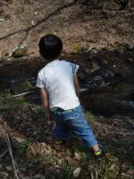 山菜とりで川遊び