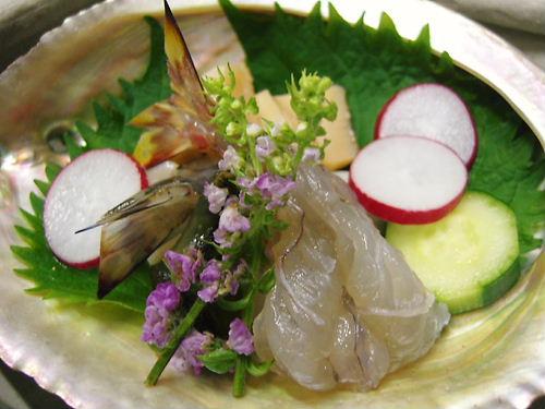 あわびと車海老の舟遊び(水貝)