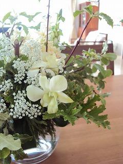 白い花とグリーン