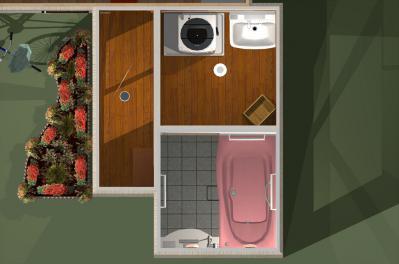 095 生口島 I様邸 ユニットバス松コース タカラスタンダード伸びの美容室(1617)、脱衣場増築リフォーム、複層ガラスサッシ工事  正義の味方 べんりMAN 15