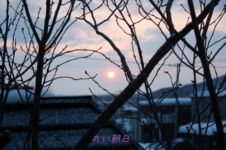 朝日が丸く見えました