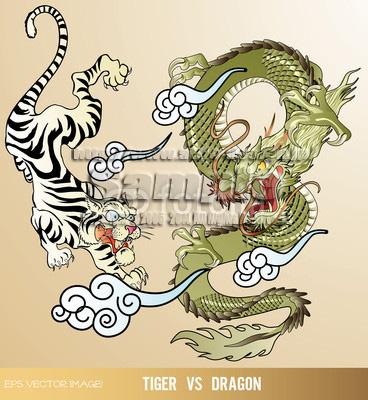 イラスト 虎と龍