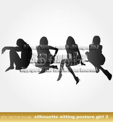 イラスト 少女座るシルエット3