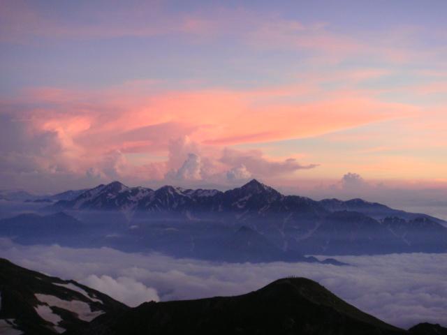 夕照の剣岳