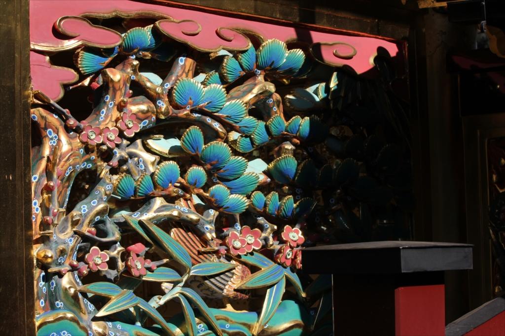 松竹梅と錦鶏鳥の透彫_1