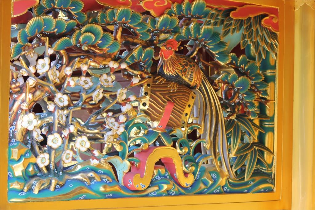松竹梅と錦鶏鳥の透彫_2