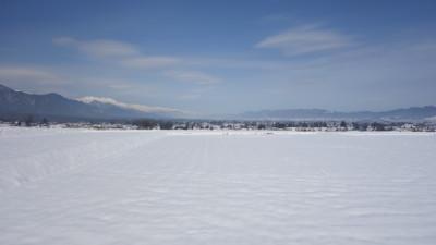 安曇野は雪野原