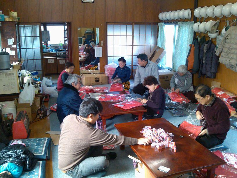 小豆沢北町会60周年記念品袋詰め作業