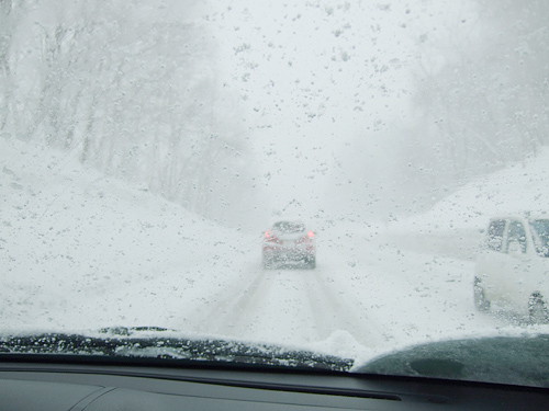 定山渓温泉 帰り道 猛吹雪