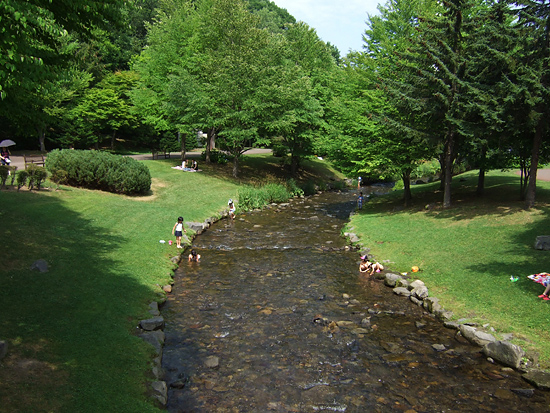 滝野すずらん丘陵公園 パークブリッジ 川遊び