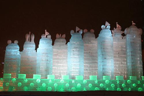 第63回さっぽろ雪まつり 動物たちの夢の城 夜景