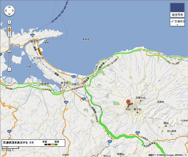 グーグルマップ 美保湾 大山
