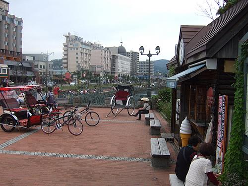 小樽 運河前 人力車