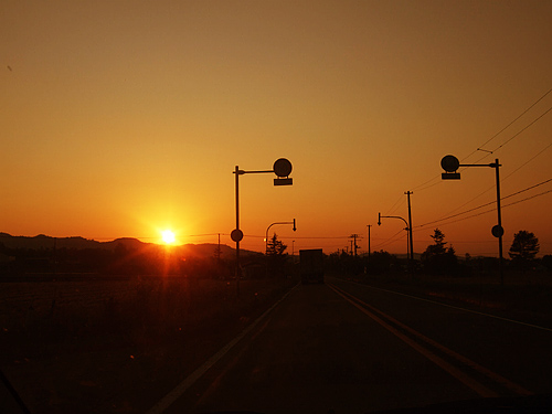 夕日 帰り道 富良野