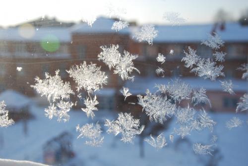 ガラス窓に結晶