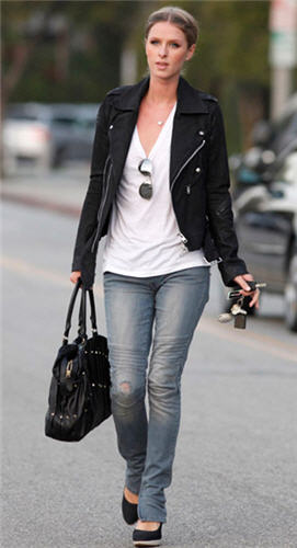 Vintage1 Motorcycle Skinny Jean as seen on Nicky Hilton in Blue Exhaust