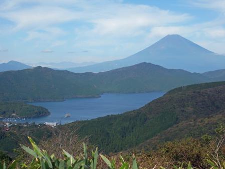 大観山より芦ノ湖と富士山
