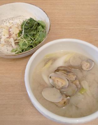 お味噌汁とお刺身 2010.2.18