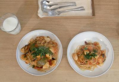 チキンと茄子のトマトパスタ