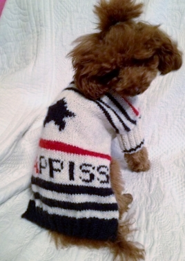 ボンハッピスくんのセーター試着