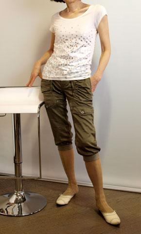 ミュールクールのシャーリングのサルエル風パンツ