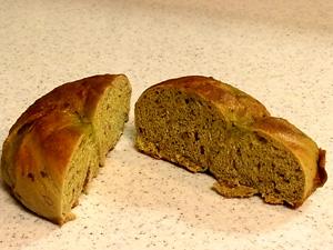 抹茶と小豆ベーグル