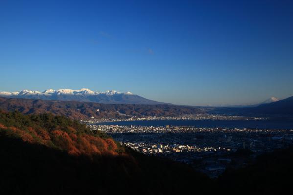 八ヶ岳、諏訪湖、富士山