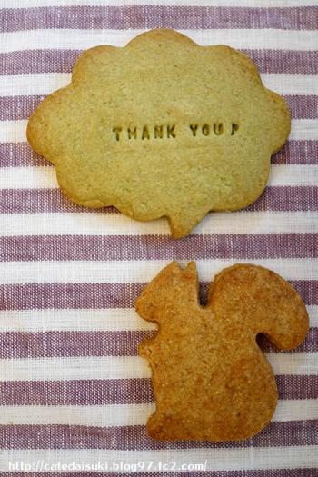 御菓子屋コナトタワムレル◇キャラメル味のりすクッキー&吹き出しクッキー(抹茶)